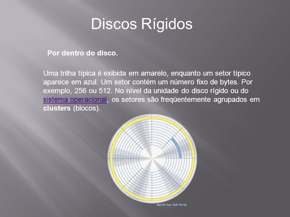 Por dentro do disco. Discos Rígidos Uma trilha típica é exibida em amarelo, enquanto um setor típico aparece em azul. Um setor contém um número fixo d