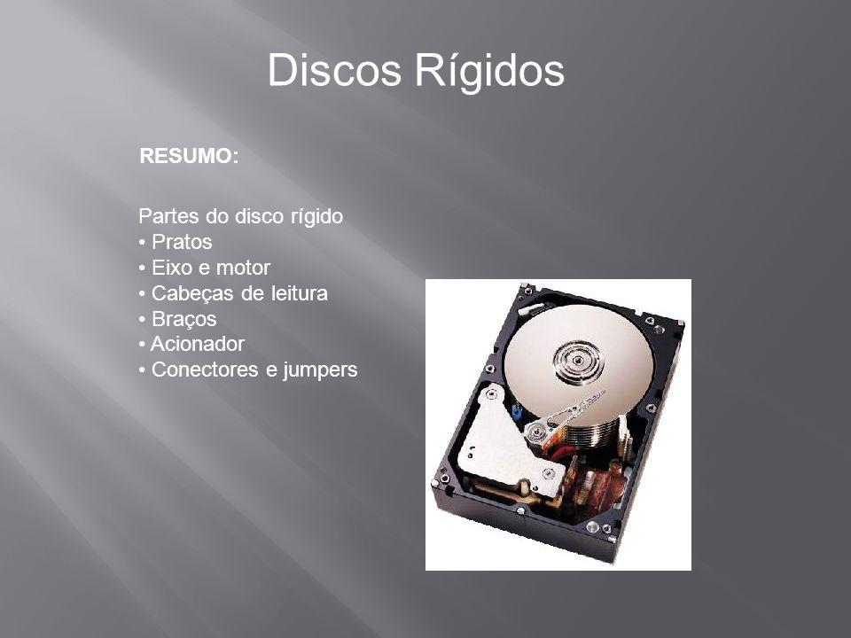 RESUMO: Discos Rígidos Partes do disco rígido Pratos Eixo e motor Cabeças de leitura Braços Acionador Conectores e jumpers
