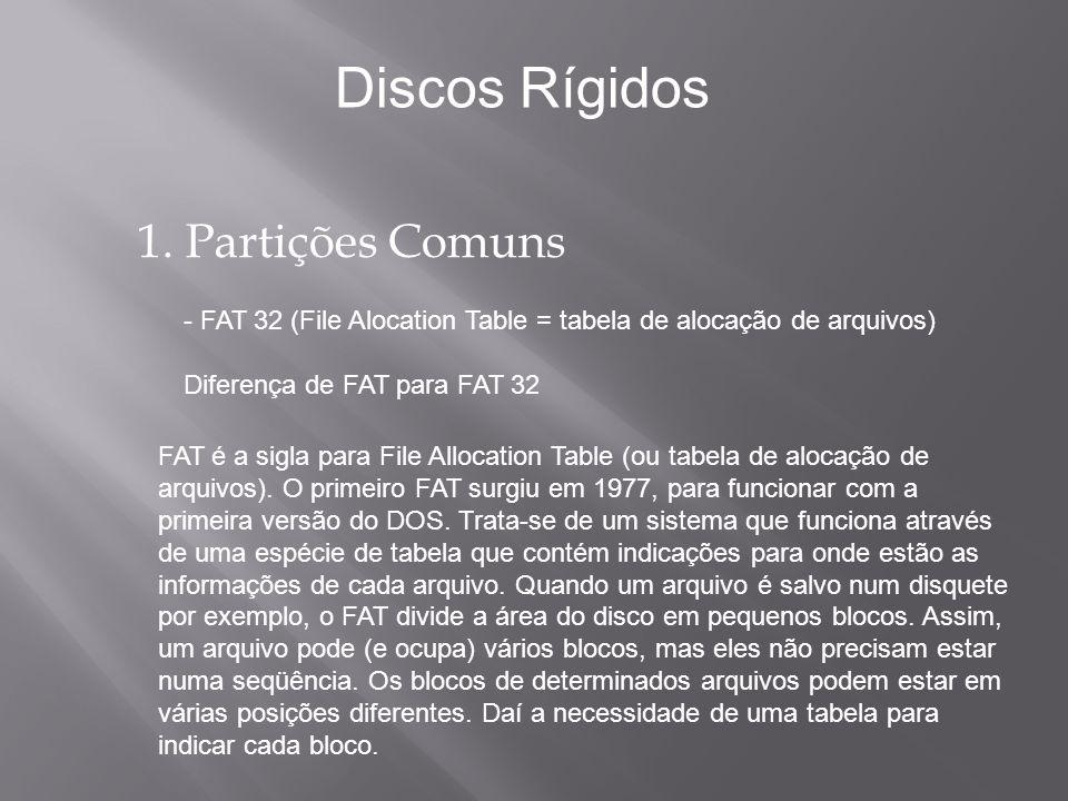 O que um disco rigído pode armazenar.Discos Rígidos Arquivos – Um arquivo é um conjunto de Bytes.