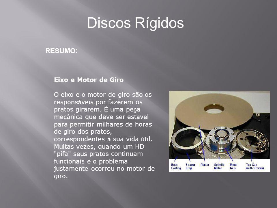 RESUMO: Discos Rígidos Eixo e Motor de Giro O eixo e o motor de giro são os respons á veis por fazerem os pratos girarem. É uma pe ç a mecânica que de