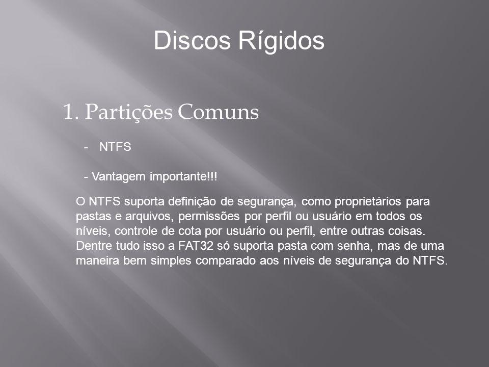 1. Partições Comuns -NTFS - Vantagem importante!!! Discos Rígidos