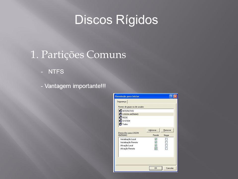 1.Partições Comuns -NTFS - Desvantagem!!.