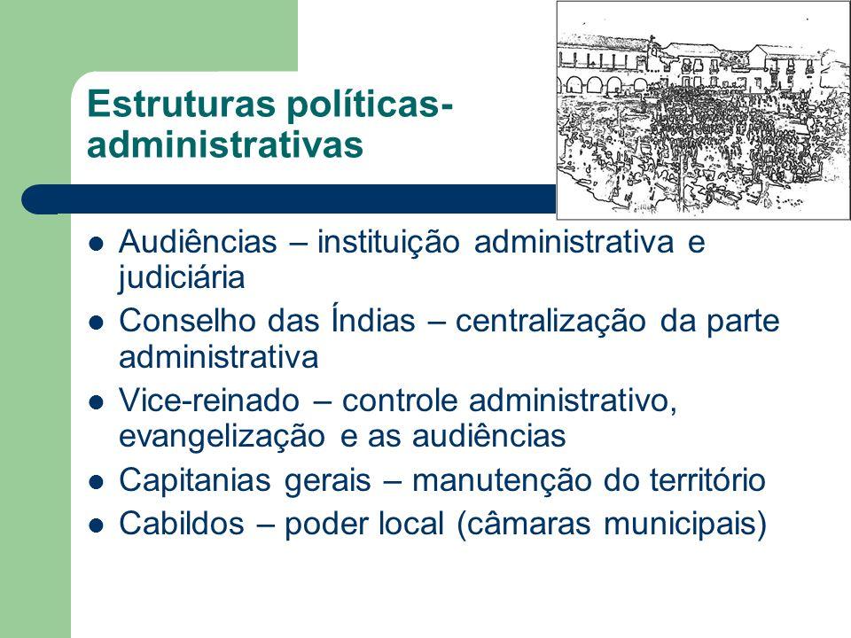 Estruturas políticas- administrativas Audiências – instituição administrativa e judiciária Conselho das Índias – centralização da parte administrativa