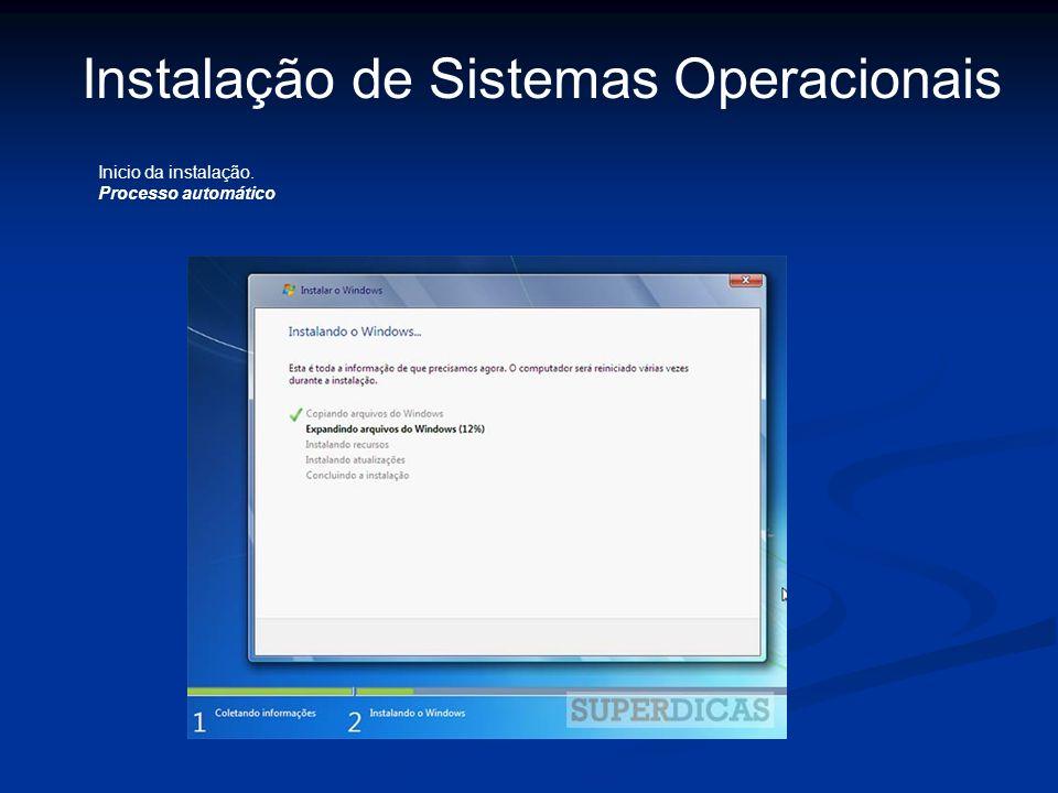 Instalação de Sistemas Operacionais Inicio da instalação. Processo automático