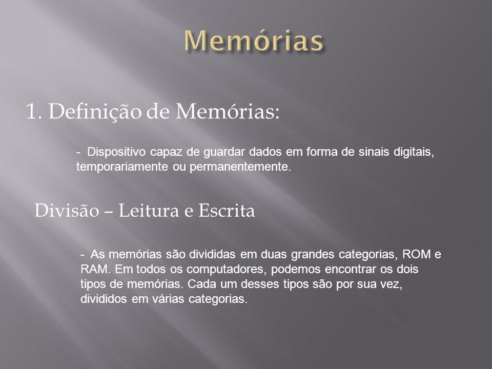 1. Definição de Memórias: - Dispositivo capaz de guardar dados em forma de sinais digitais, temporariamente ou permanentemente. Divisão – Leitura e Es