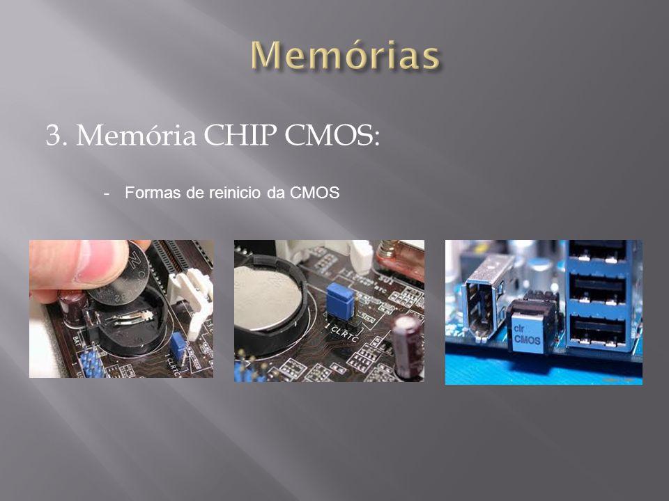 3. Memória CHIP CMOS: -Formas de reinicio da CMOS