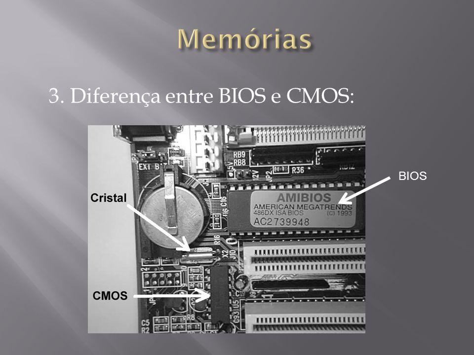 3. Diferença entre BIOS e CMOS: BIOS