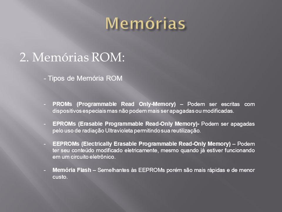 2. Memórias ROM: - Tipos de Memória ROM -PROMs (Programmable Read Only-Memory) – Podem ser escritas com dispositivos especiais mas não podem mais ser