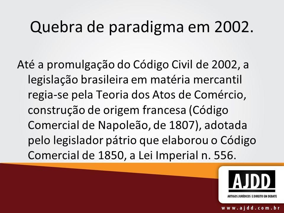 Quebra de paradigma em 2002. Até a promulgação do Código Civil de 2002, a legislação brasileira em matéria mercantil regia-se pela Teoria dos Atos de