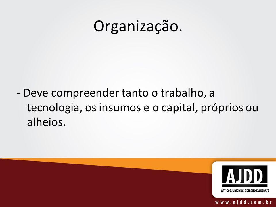 Organização. - Deve compreender tanto o trabalho, a tecnologia, os insumos e o capital, próprios ou alheios.