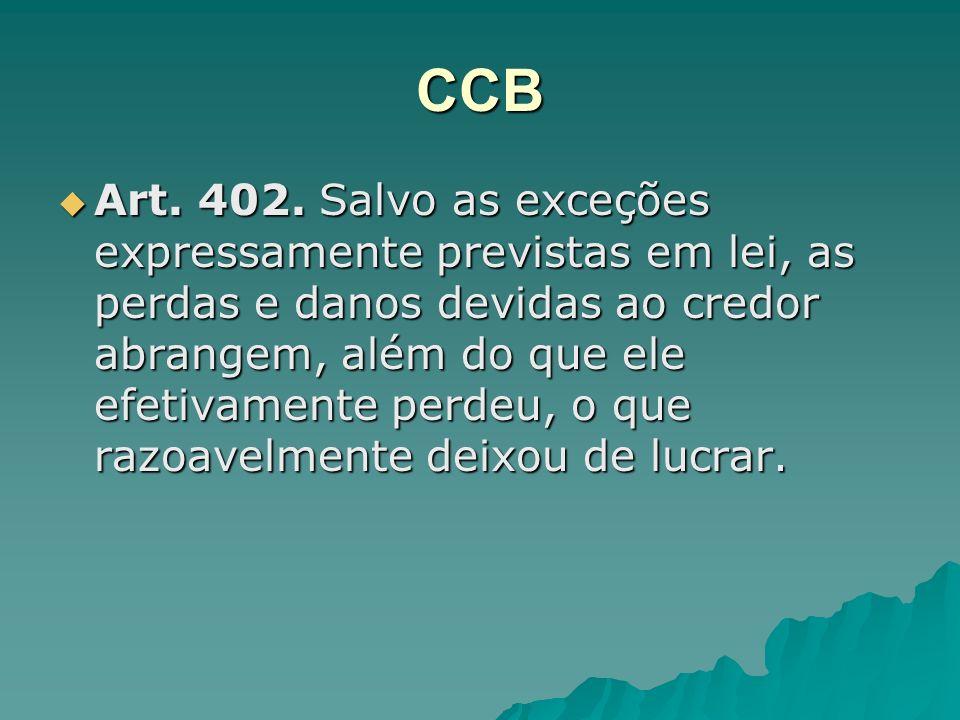 CCB Art. 402. Salvo as exceções expressamente previstas em lei, as perdas e danos devidas ao credor abrangem, além do que ele efetivamente perdeu, o q