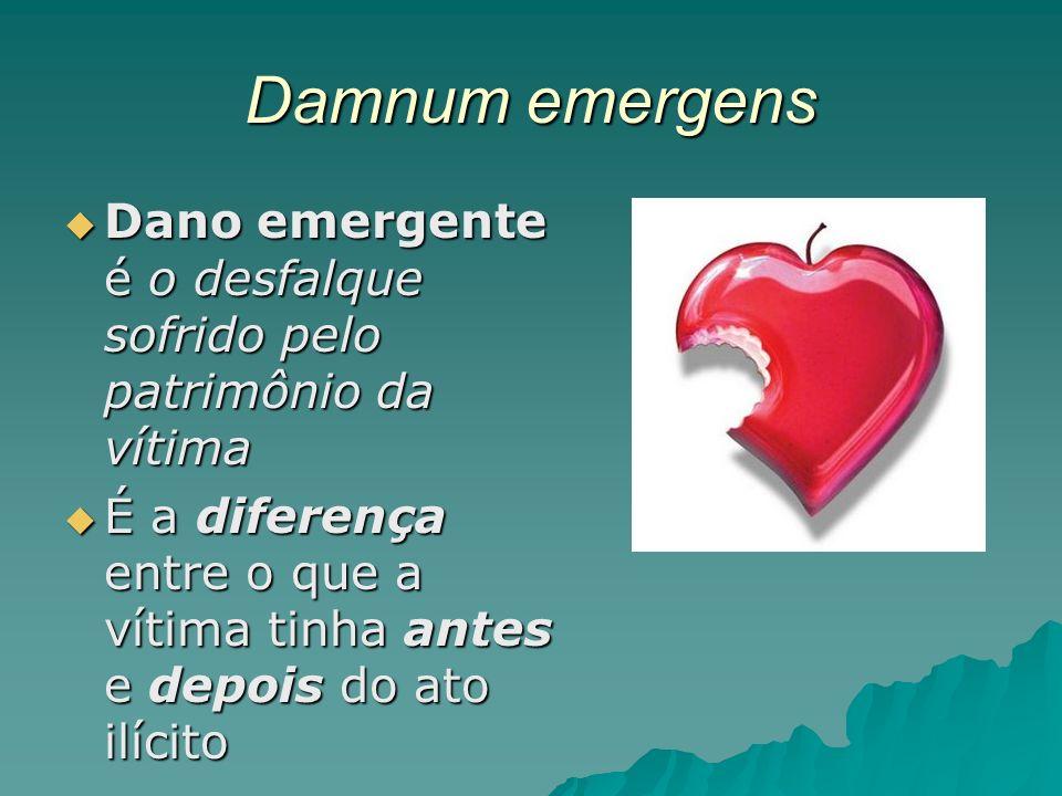 Damnum emergens Dano emergente é o desfalque sofrido pelo patrimônio da vítima Dano emergente é o desfalque sofrido pelo patrimônio da vítima É a dife