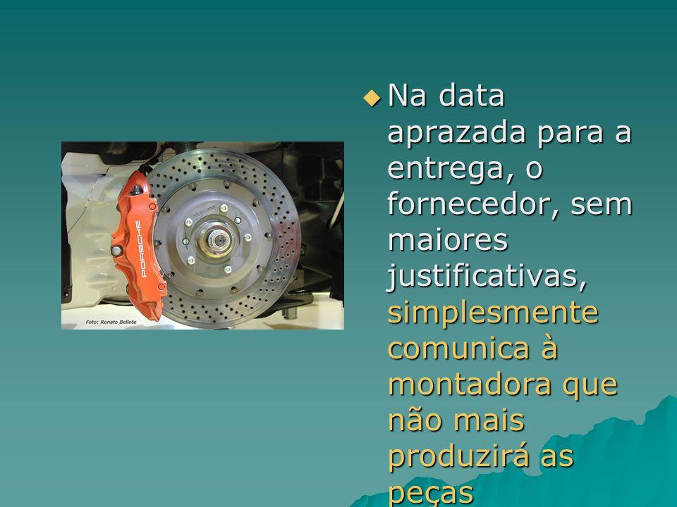 Na data aprazada para a entrega, o fornecedor, sem maiores justificativas, simplesmente comunica à montadora que não mais produzirá as peças Na data a