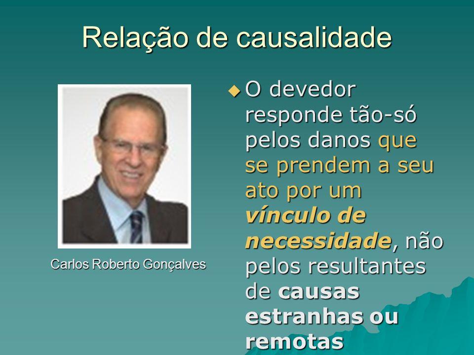 Relação de causalidade Carlos Roberto Gonçalves O devedor responde tão-só pelos danos que se prendem a seu ato por um vínculo de necessidade, não pelo