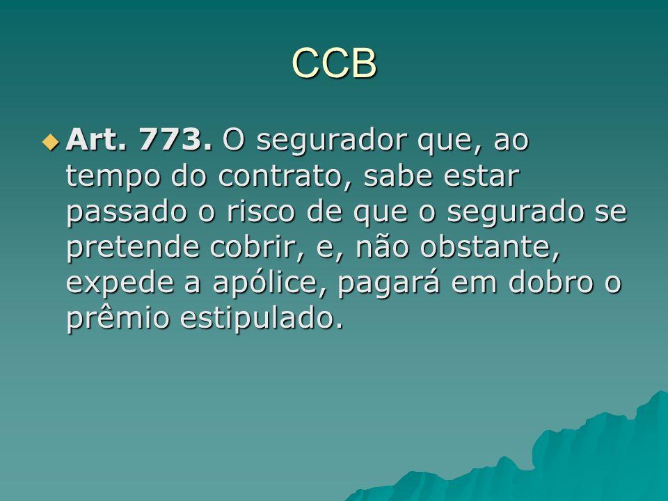 CCB Art. 773. O segurador que, ao tempo do contrato, sabe estar passado o risco de que o segurado se pretende cobrir, e, não obstante, expede a apólic