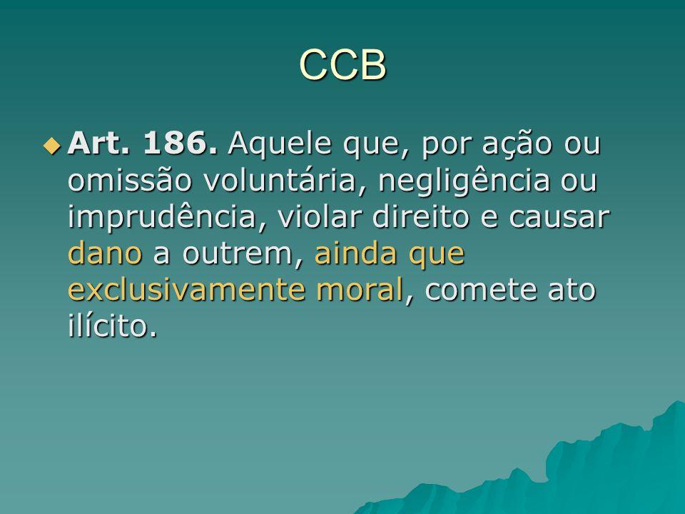 CCB Art. 186. Aquele que, por ação ou omissão voluntária, negligência ou imprudência, violar direito e causar dano a outrem, ainda que exclusivamente