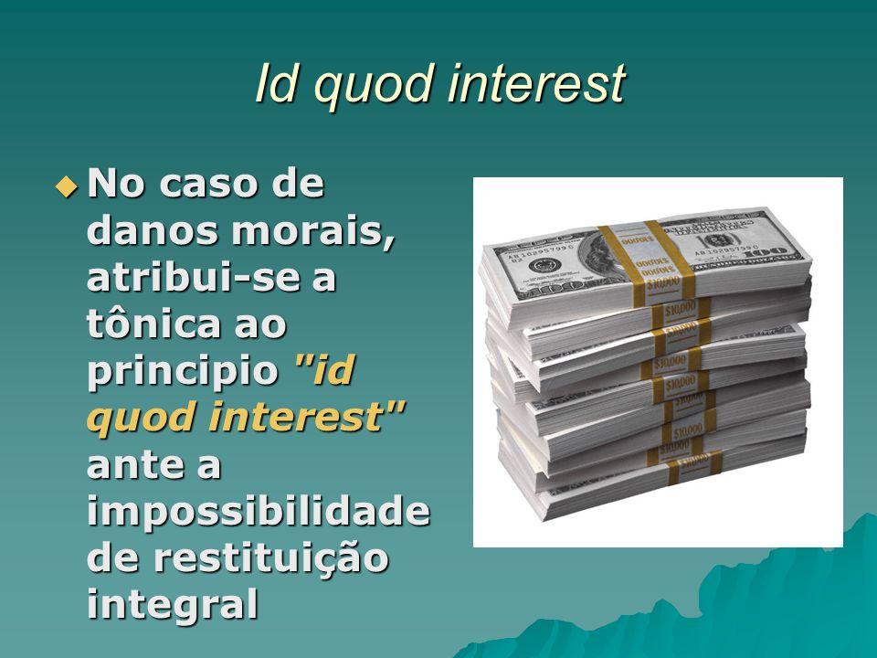 Id quod interest No caso de danos morais, atribui-se a tônica ao principio