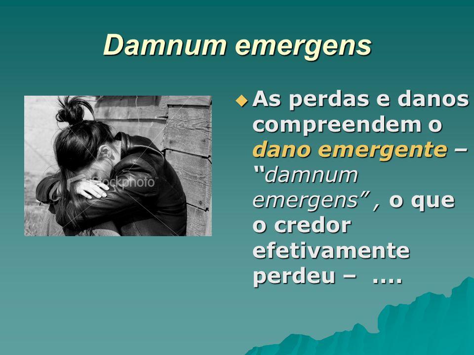 Damnum emergens As perdas e danos compreendem o dano emergente –damnum emergens, o que o credor efetivamente perdeu –.... As perdas e danos compreende