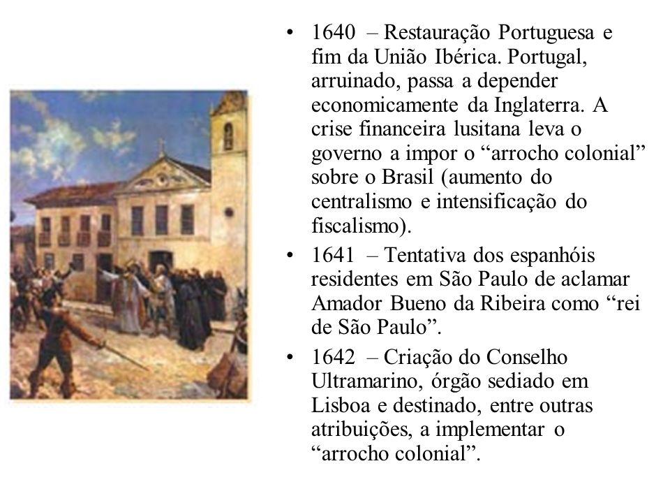 1640 – Restauração Portuguesa e fim da União Ibérica. Portugal, arruinado, passa a depender economicamente da Inglaterra. A crise financeira lusitana