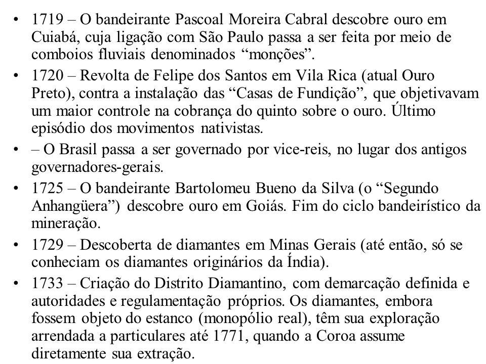 1719 – O bandeirante Pascoal Moreira Cabral descobre ouro em Cuiabá, cuja ligação com São Paulo passa a ser feita por meio de comboios fluviais denomi