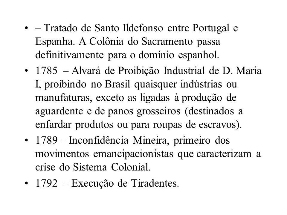 – Tratado de Santo Ildefonso entre Portugal e Espanha. A Colônia do Sacramento passa definitivamente para o domínio espanhol. 1785 – Alvará de Proibiç
