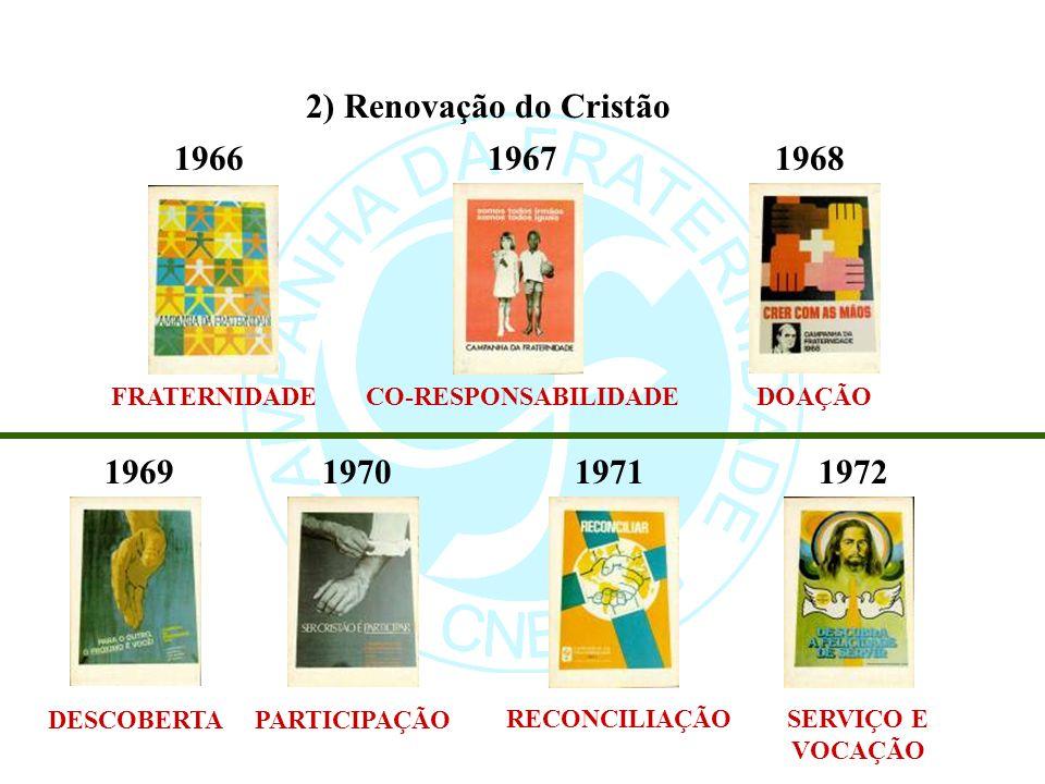 2) Renovação do Cristão 196619671968 1969197019711972 FRATERNIDADECO-RESPONSABILIDADEDOAÇÃO DESCOBERTAPARTICIPAÇÃO RECONCILIAÇÃOSERVIÇO E VOCAÇÃO