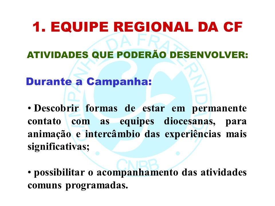 1. EQUIPE REGIONAL DA CF ATIVIDADES QUE PODERÃO DESENVOLVER: Descobrir formas de estar em permanente contato com as equipes diocesanas, para animação