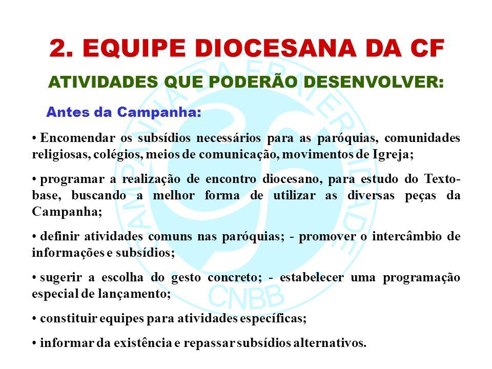 2. EQUIPE DIOCESANA DA CF ATIVIDADES QUE PODERÃO DESENVOLVER: Encomendar os subsídios necessários para as paróquias, comunidades religiosas, colégios,