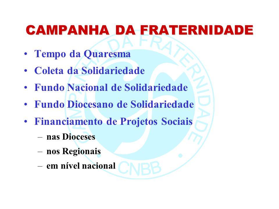 CAMPANHA DA FRATERNIDADE Tempo da Quaresma Coleta da Solidariedade Fundo Nacional de Solidariedade Fundo Diocesano de Solidariedade Financiamento de Projetos Sociais –nas Dioceses –nos Regionais –em nível nacional