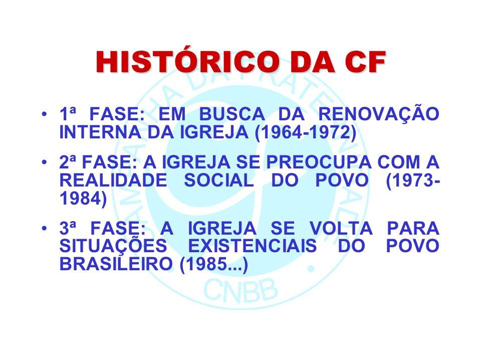 HISTÓRICO DA CF 1ª FASE: EM BUSCA DA RENOVAÇÃO INTERNA DA IGREJA (1964-1972) 2ª FASE: A IGREJA SE PREOCUPA COM A REALIDADE SOCIAL DO POVO (1973- 1984) 3ª FASE: A IGREJA SE VOLTA PARA SITUAÇÕES EXISTENCIAIS DO POVO BRASILEIRO (1985...)