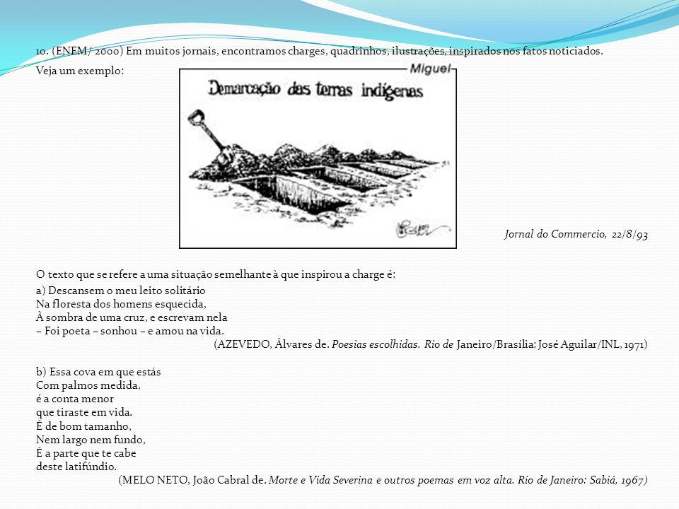 10. (ENEM/ 2000) Em muitos jornais, encontramos charges, quadrinhos, ilustrações, inspirados nos fatos noticiados. Veja um exemplo: Jornal do Commerci