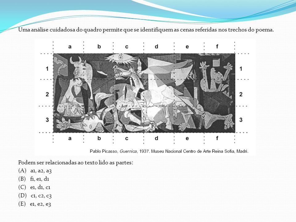 Uma análise cuidadosa do quadro permite que se identifiquem as cenas referidas nos trechos do poema. Podem ser relacionadas ao texto lido as partes: (