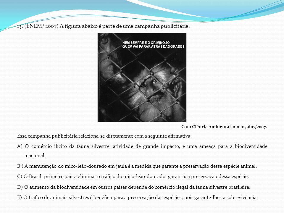 13. (ENEM/ 2007) A fig1ura abaixo é parte de uma campanha publicitária. Com Ciência Ambiental, n.o 10, abr./2007. Essa campanha publicitária relaciona