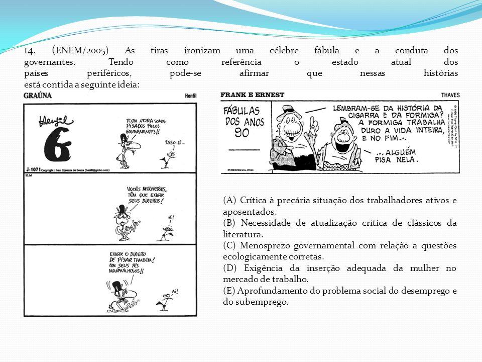 14. ( ENEM/2005) As tiras ironizam uma célebre fábula e a conduta dos governantes. Tendo como referência o estado atual dos países periféricos, pode-s
