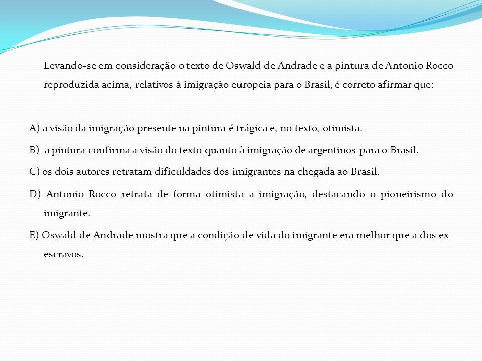 Levando-se em consideração o texto de Oswald de Andrade e a pintura de Antonio Rocco reproduzida acima, relativos à imigração europeia para o Brasil,