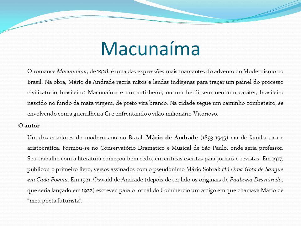 Macunaíma O romance Macunaíma, de 1928, é uma das expressões mais marcantes do advento do Modernismo no Brasil. Na obra, Mário de Andrade recria mitos