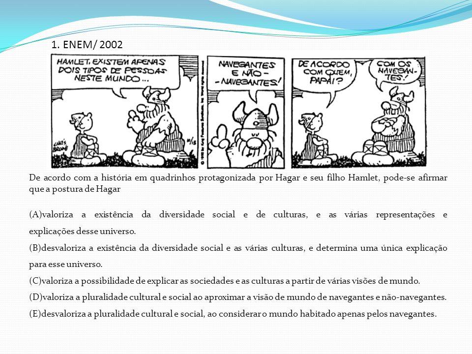 1. ENEM/ 2002 De acordo com a história em quadrinhos protagonizada por Hagar e seu filho Hamlet, pode-se afirmar que a postura de Hagar (A)valoriza a