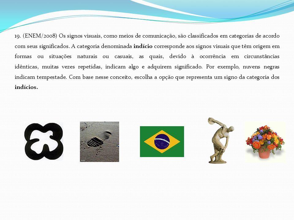 19. (ENEM/2008) Os signos visuais, como meios de comunicação, são classificados em categorias de acordo com seus significados. A categoria denominada