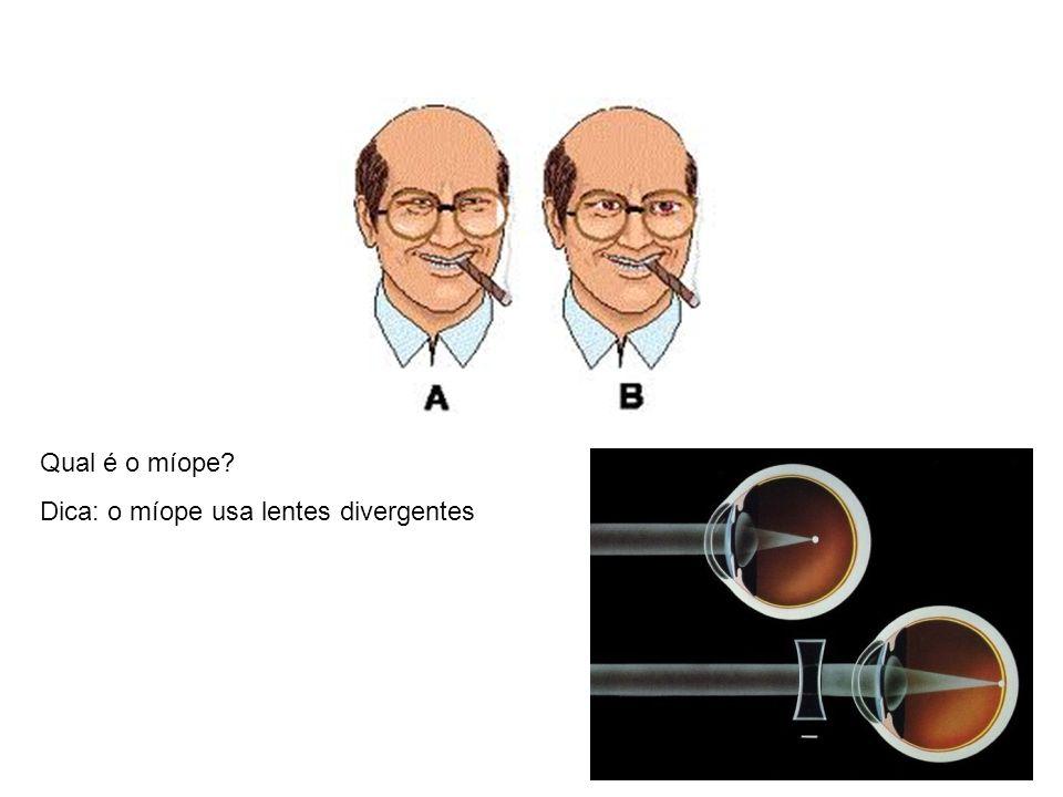 Qual é o míope? Dica: o míope usa lentes divergentes