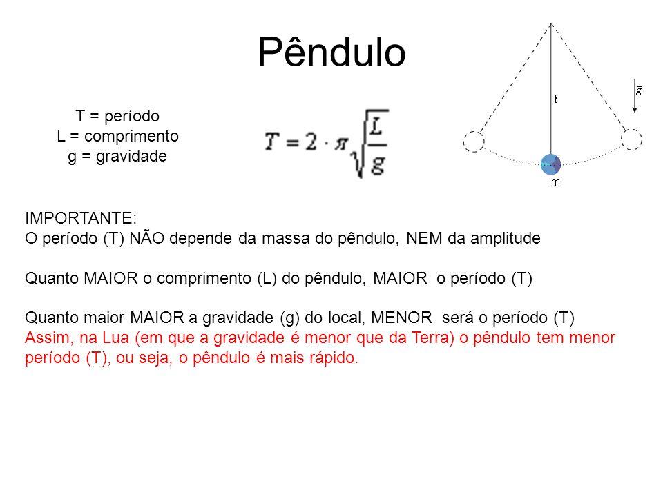 Pêndulo T = período L = comprimento g = gravidade IMPORTANTE: O período (T) NÃO depende da massa do pêndulo, NEM da amplitude Quanto MAIOR o comprimen