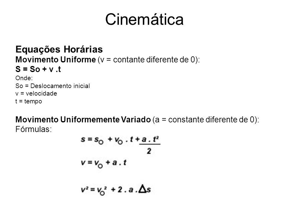Cinemática Equações Horárias Movimento Uniforme (v = contante diferente de 0): S = So + v.t Onde: So = Deslocamento inicial v = velocidade t = tempo M