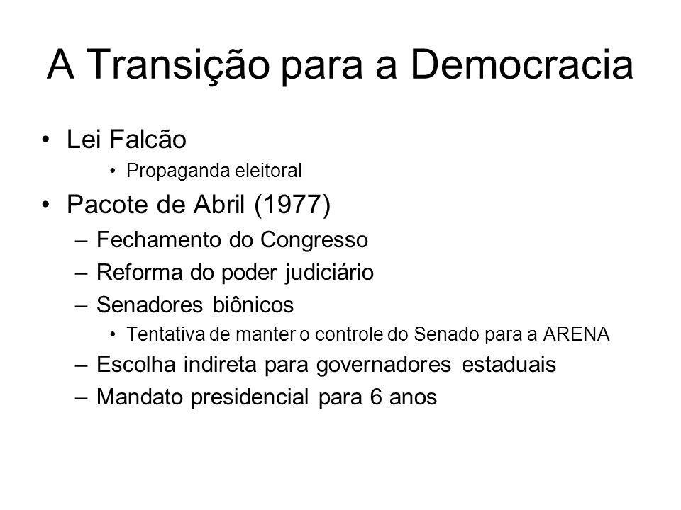 A Transição para a Democracia Extinção dos Atos Institucionais – 1978 Anistia Novos partidos –PMDB –PDS –PT –PTB –PDT Terrorismo –OAB –Riocentro