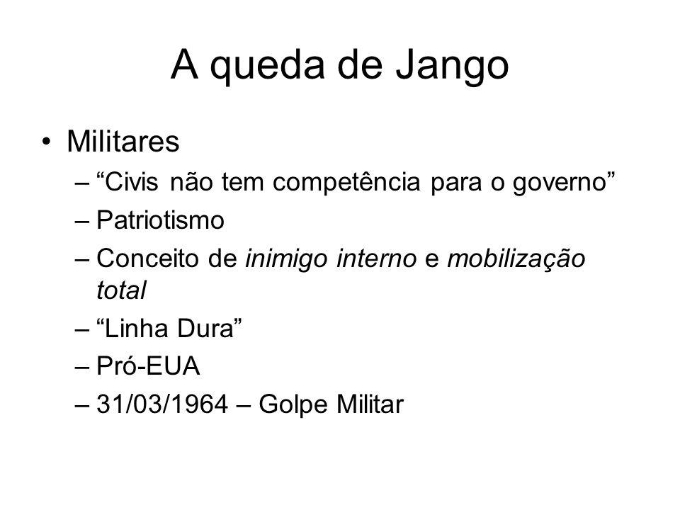 A Ditadura - Política Presidentes –Castelo Branco (1964 – 1967) –Costa e Silva (1967-1969) –Médici (1969-1974) –Ernesto Geisel (1974-1979) –João Figueiredo (1979-1985)