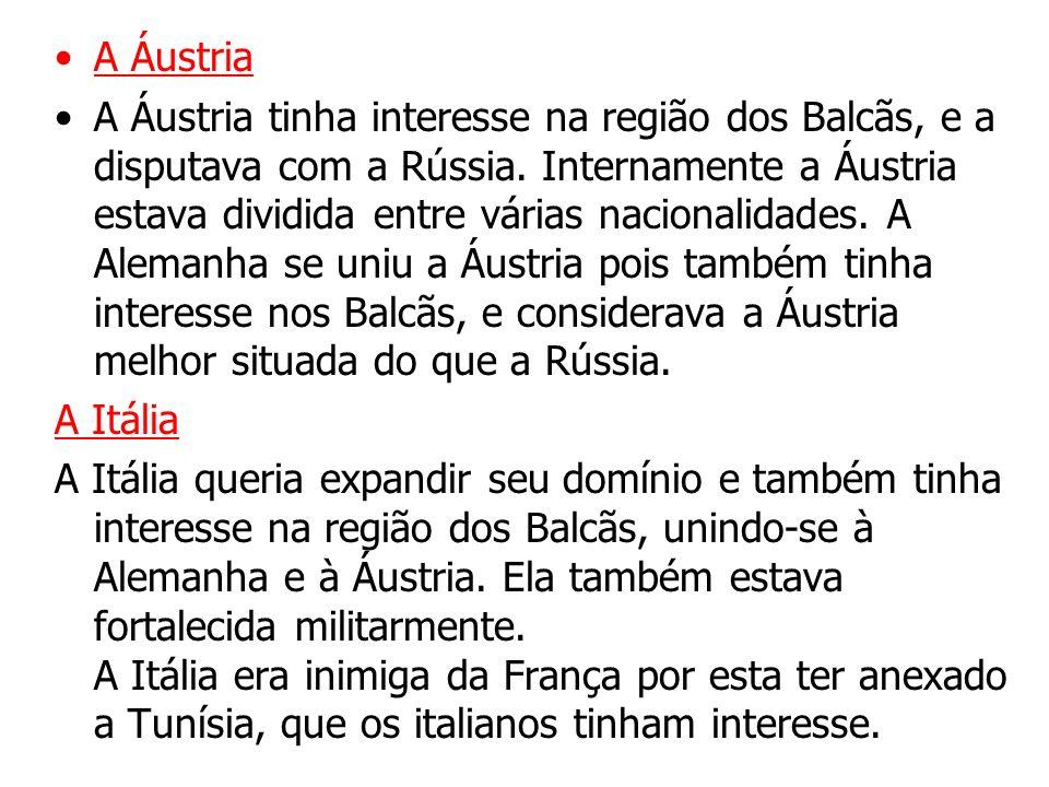 A Áustria A Áustria tinha interesse na região dos Balcãs, e a disputava com a Rússia.