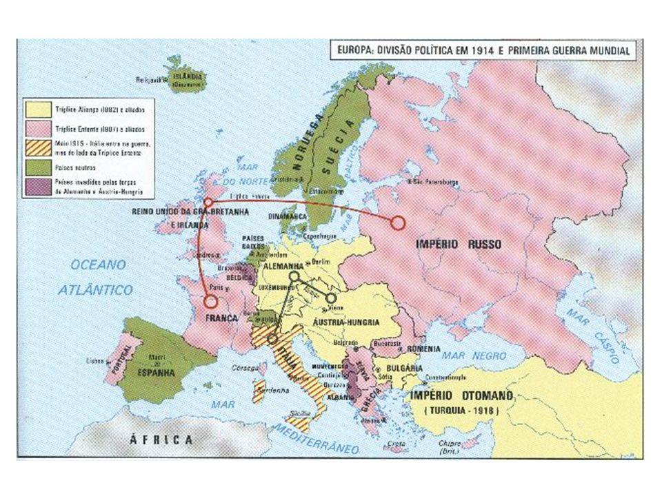 Alianças e choques Internacionais no período anterior à Guerra O clima internacional na Europa era carregado de antagonismos que se expressavam na formação de alianças secretas e de sistemas de alianças, tornando a ameaça de uma guerra inevitável.