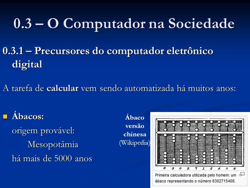 0.3 – O Computador na Sociedade 0.3.1 – Precursores do computador eletrônico digital A tarefa de calcular vem sendo automatizada há muitos anos: Ábaco