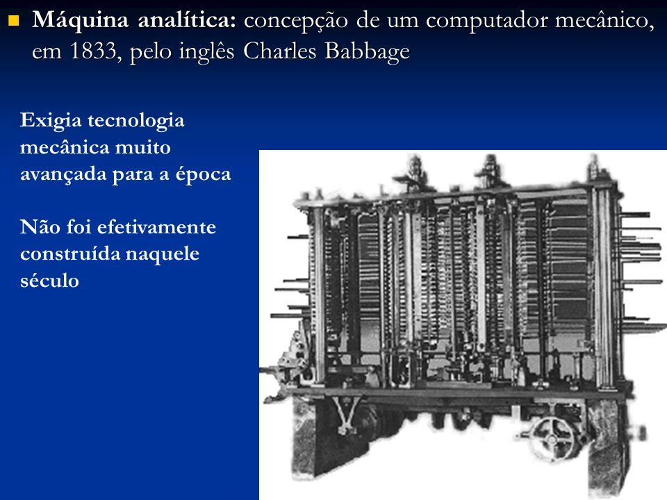 Máquina analítica: concepção de um computador mecânico, em 1833, pelo inglês Charles Babbage Máquina analítica: concepção de um computador mecânico, e