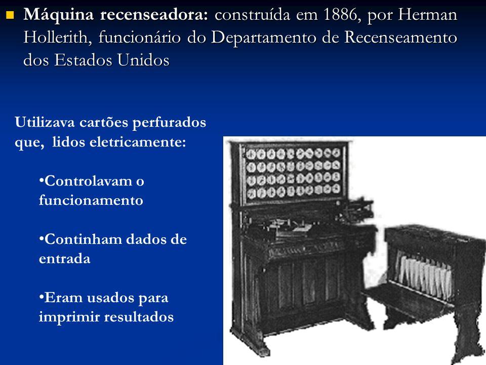 Máquina recenseadora: construída em 1886, por Herman Hollerith, funcionário do Departamento de Recenseamento dos Estados Unidos Máquina recenseadora: