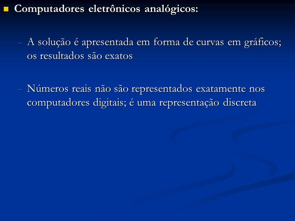 Computadores eletrônicos analógicos: Computadores eletrônicos analógicos: A solução é apresentada em forma de curvas em gráficos; os resultados são ex