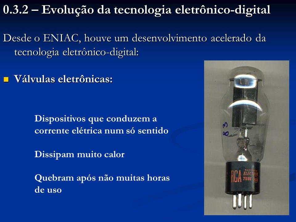 0.3.2 – Evolução da tecnologia eletrônico-digital Desde o ENIAC, houve um desenvolvimento acelerado da tecnologia eletrônico-digital: Válvulas eletrôn